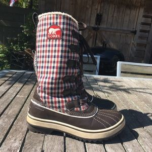 Sorel Winter Boots Plaid Tie Front Water Proof